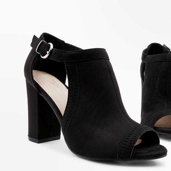 d1356f0c356 Black Comfort Flex Cut Out Peep Toe Heels. NWT. New Look